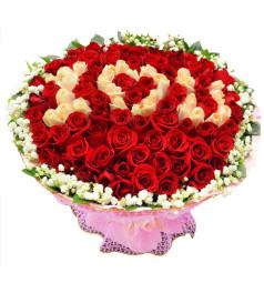 情定今生-99朵紅玫瑰+香槟玫瑰,满天星绿叶围绕一周