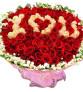 情定今生-99朵红玫瑰+香槟玫瑰,满天星绿叶围绕一周