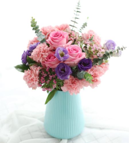 爱的天堂-5枝苏醒玫瑰、4枝紫桔梗、16枝粉康乃馨