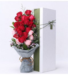 期盼朝暮与厮守-13支红玫瑰+6支粉玫瑰