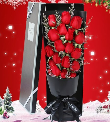 甜蜜圣诞-19枝红玫瑰礼盒