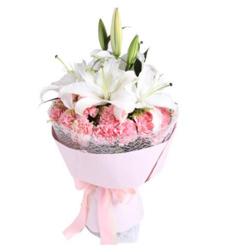 愛的供養--粉色康乃馨19枝,多頭香水百合2枝