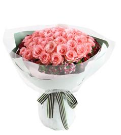 等待爱情--黛安娜粉玫瑰50枝