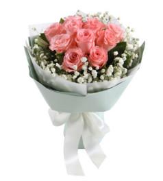 珍惜--黛安娜粉玫瑰11枝