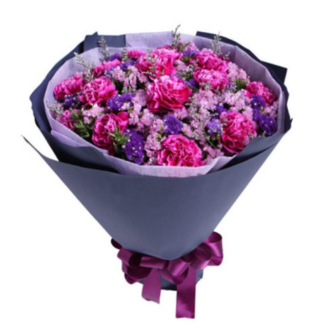 永不褪色--紫色康乃馨16枝