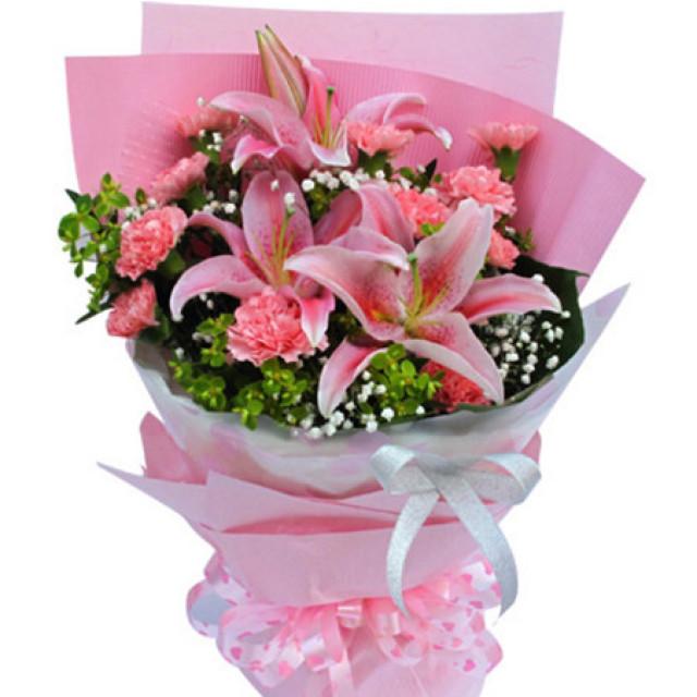 无忧--粉色康乃馨11枝,多头香水百合2枝