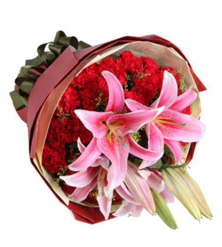 幸福典藏--红康乃馨29枝,多头粉色香水百合2枝