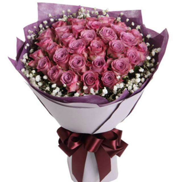 转角遇见爱--紫玫瑰33枝