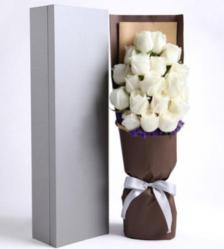 深切思念--精品玫瑰礼盒:白玫瑰19枝