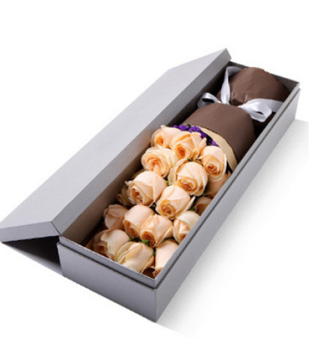 记忆--精品玫瑰礼盒:香槟玫瑰19枝