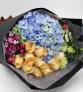 阳光祝福--香槟玫瑰11枝,蓝色绣球1枝