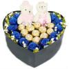 圣诞花盒J-11枝蓝色妖姬+11个费列罗巧克力+1对公仔
