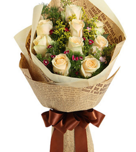 爱的音符--香槟玫瑰9枝
