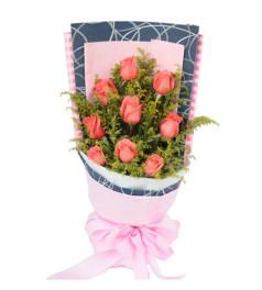 遇见--粉玫瑰9枝