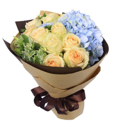 美好的祝福--香槟玫瑰11枝,浅蓝色绣球1枝