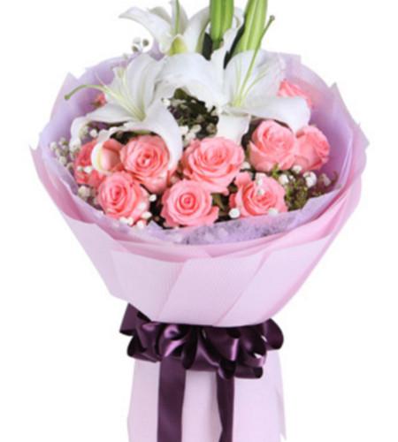 深深的爱恋--戴安娜粉玫瑰11枝