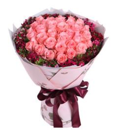爱你永不悔--戴安娜粉玫瑰33枝