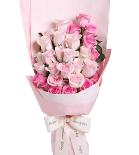 把握幸福--粉佳人粉玫瑰17枝+水粉色苏醒玫瑰12枝