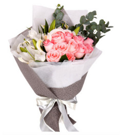 爱的进行曲--戴安娜粉玫瑰11枝,白色多头香水百合3枝