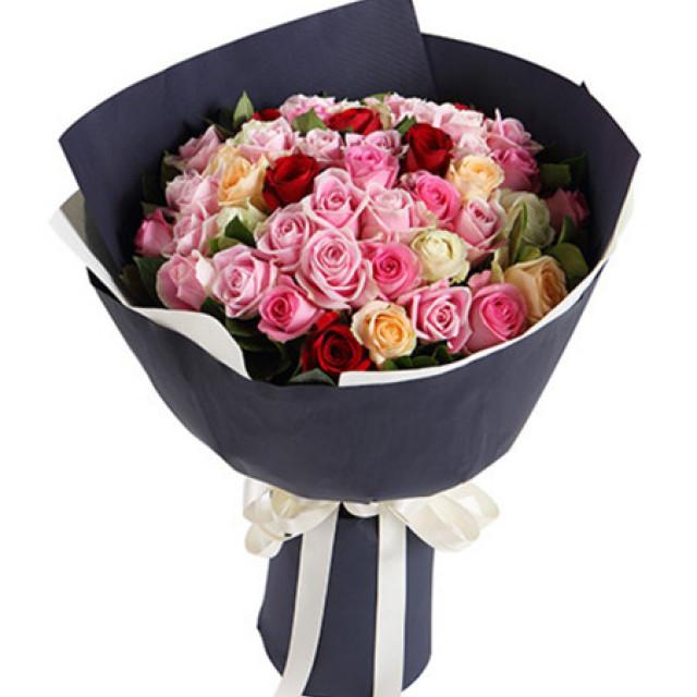 五彩缤纷--各色玫瑰共50枝