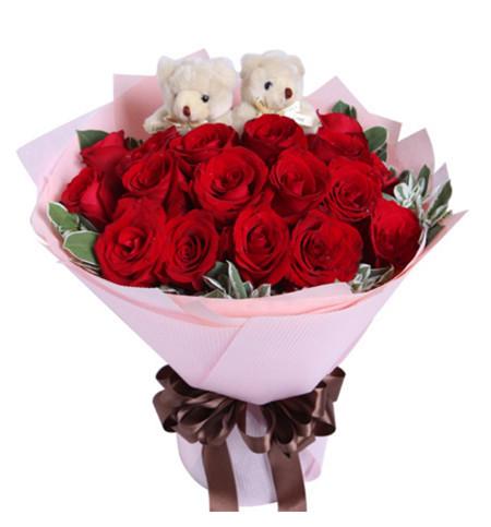 19枝红玫瑰+2小熊