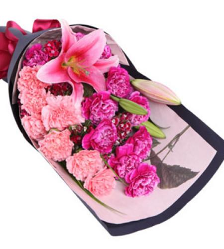 安康长寿--紫色康乃馨12枝,粉色康乃馨7枝,多头粉色百合1枝