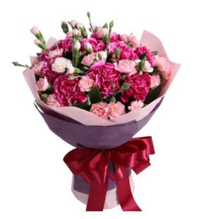 愛媽媽--紫紅色康乃馨12枝,多頭粉色康乃馨7枝