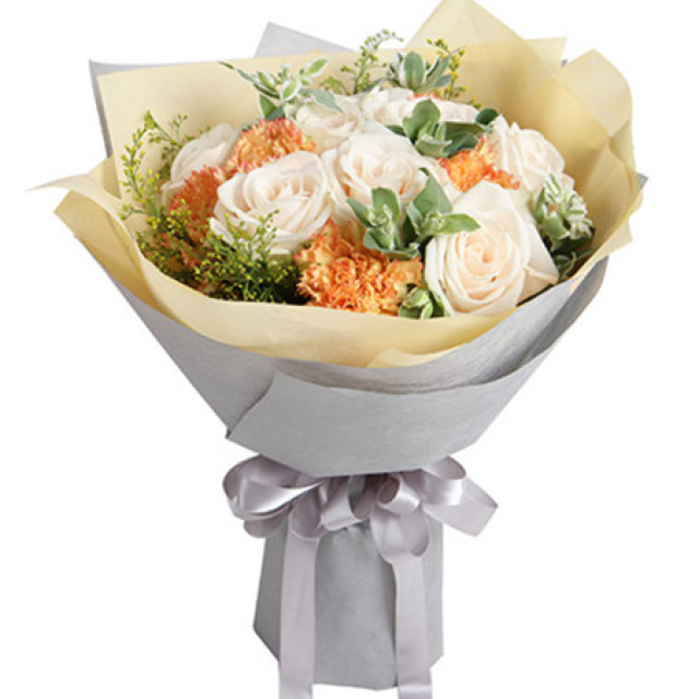 爱恋--芬德拉白玫瑰9枝,橙色康乃馨7枝