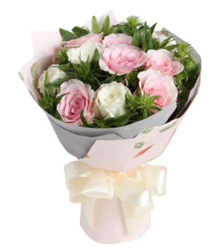 生日快乐--粉佳人粉玫瑰6枝,白玫瑰6枝