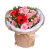 美丽的诞辰--戴安娜粉玫瑰16枝,红色扶郎花3枝