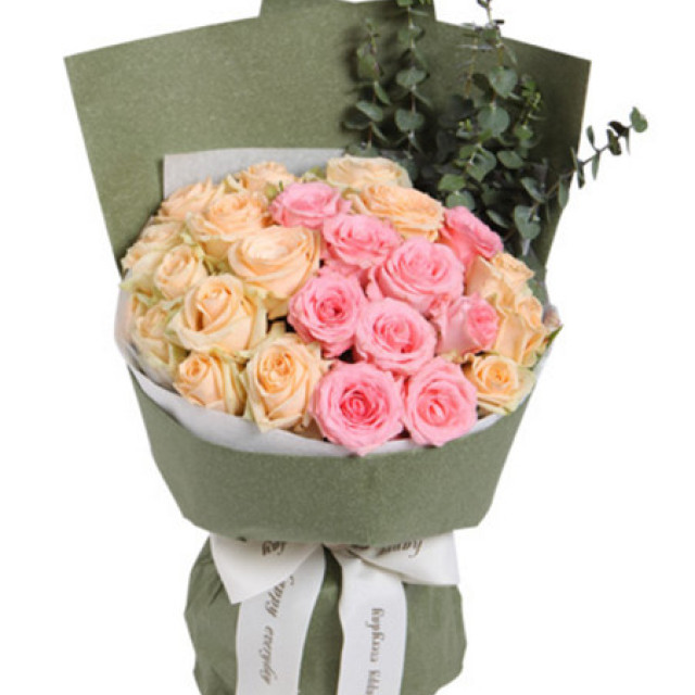 喃喃细语--戴安娜粉玫瑰9枝,香槟玫瑰15枝
