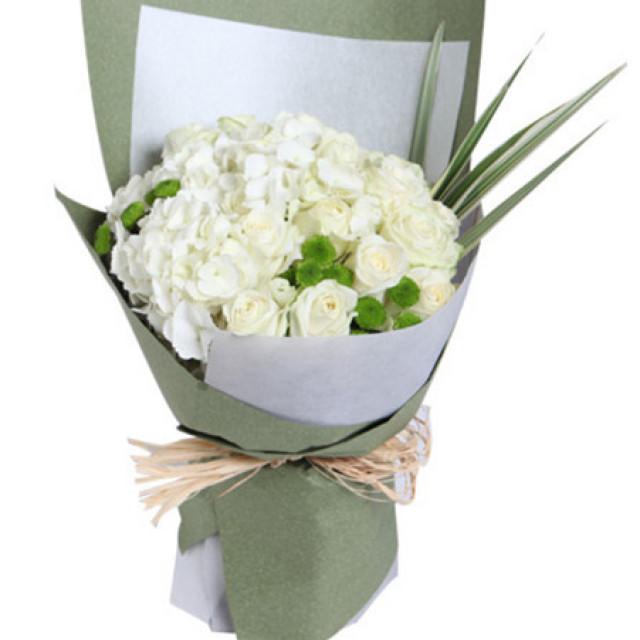 纯真时代--雪山白玫瑰15枝 ,白色绣球1枝