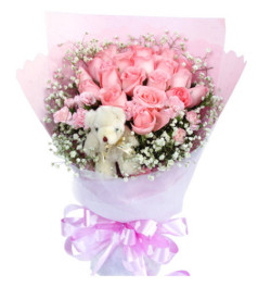 爱心--粉玫瑰19枝