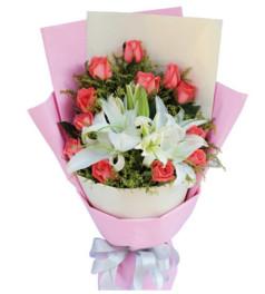 需要你--粉玫瑰12枝,白色多头香水百合2枝