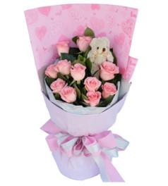 甜蜜祝福--粉玫瑰11枝