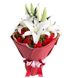 乐逍遥--红色康乃馨19枝,白色多头香水百合2枝
