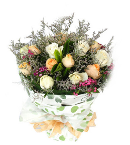 阳光青春--香槟玫瑰9枝,白玫瑰9枝