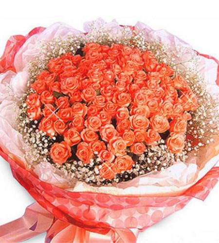 拨动心弦--玫瑰100枝(粉色、红色、紫色、香槟色可选其一)