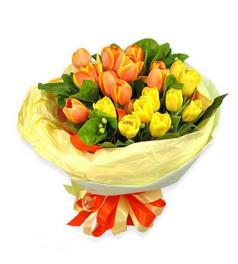 爱你不停--双色郁金香20枝(粉/桔/黄/红,挑选2种颜色搭配,依实际进货确定)