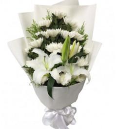 再回首--19枝白菊花+2枝白色百合