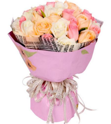 美好的日子--33枝玫瑰(白色、粉色、香槟)混搭