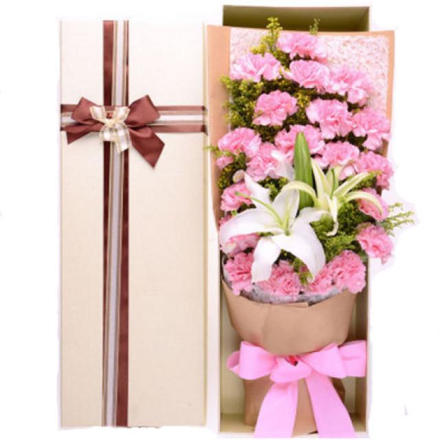 祝福--21枝粉色康乃馨,1枝白色香水百合