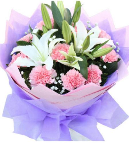 母亲节快乐A--11枝粉色康乃馨,2枝白色香水百合