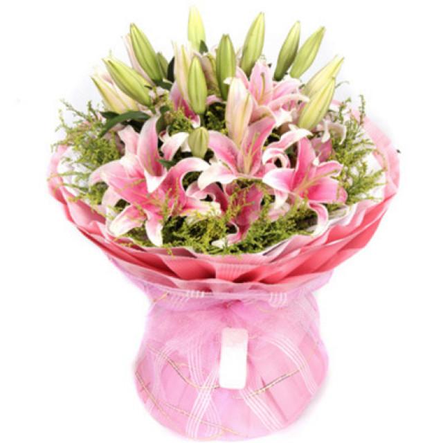 祝福--9枝粉色多头香水百合