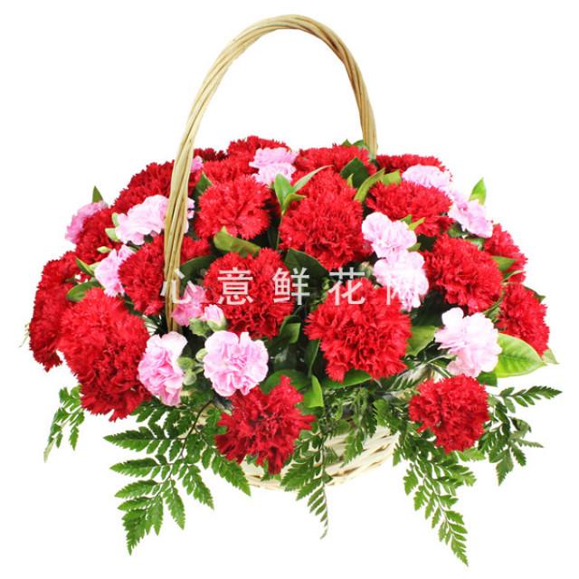 平安健康--33枝红色康乃馨,粉色多头康